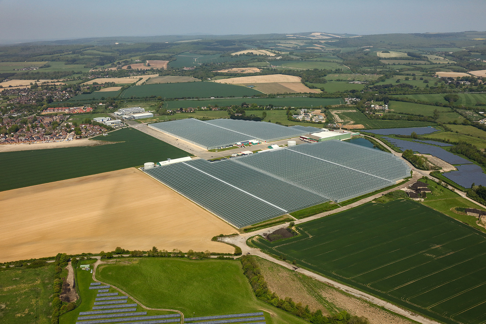 An arial photograph of the glasshouses on Tangmere Airfield Nurseries in the UK